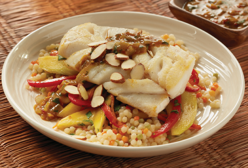 Moroccan-style cod with mango carrot slaw