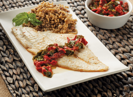 sole with basil and sun-dried tomatoes
