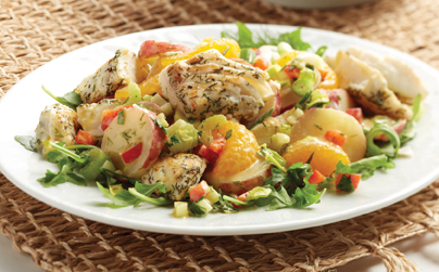 Halibut potato salad with dijon dressing