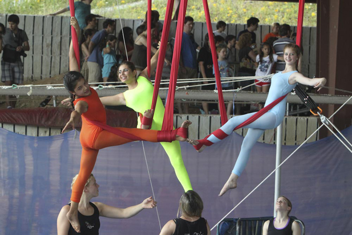 acrobats at camp