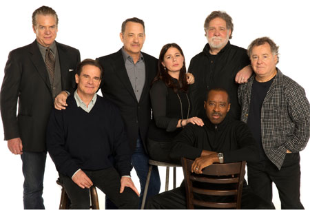The cast of Lucky Guy on Broadway