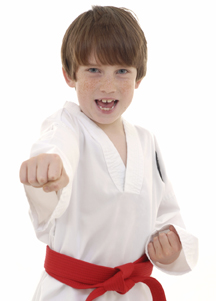 child doing martial arts