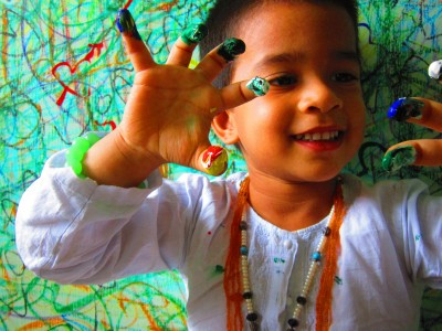 boy with finger paint