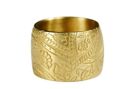 18K Gold Wide Paisley Band