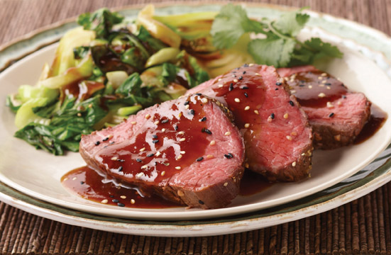 korean bbq beef tenderloin with bok choy