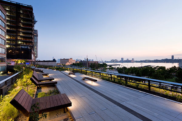The High Line Park at sunset