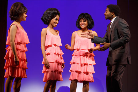 Sydney Morton, Valisia LeKae, Ariana DeBose, and Brandon Victor Dixon in Motown the Musical on Broadway
