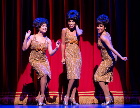 Sydney Morton, Valisia LeKae, and Ariana DeBose as the Supremes