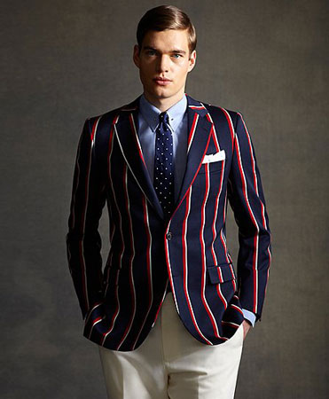 Brooks Brothers' Gatsby Collection Red, White, and Navy Striped Regatta Blazer