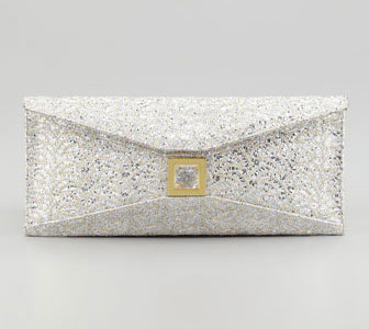 Kara Ross Stretch Prunella Embroidered Glitter Clutch Bag