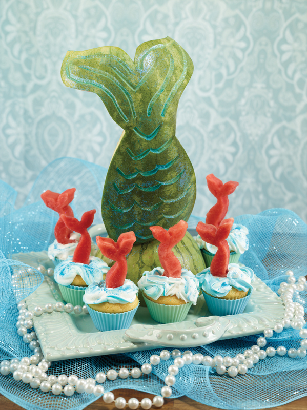 mermaid tale centerpiece made of watermelon
