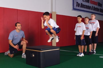 athletes practice vertical jumping
