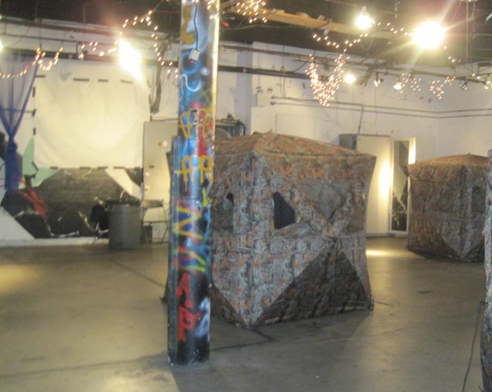 Obstacles set up for a laser tag party