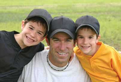 dad and kids on fathers day