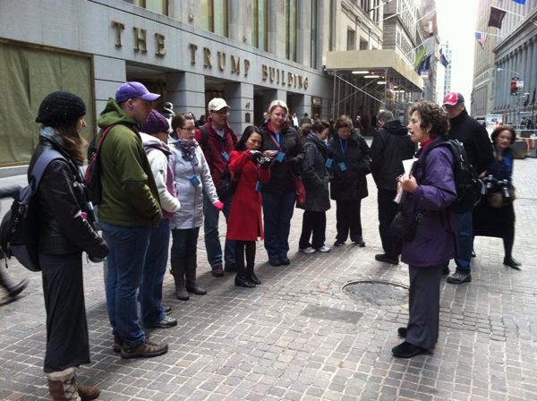 A group of tourists on Wall Street Walk.