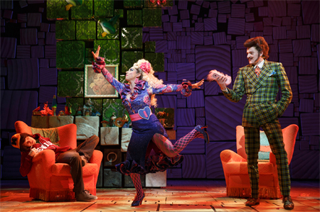 From left: Taylor Trensch, Lesli Margherita, and Gabriel Ebert in a scene from Matilda the Musical