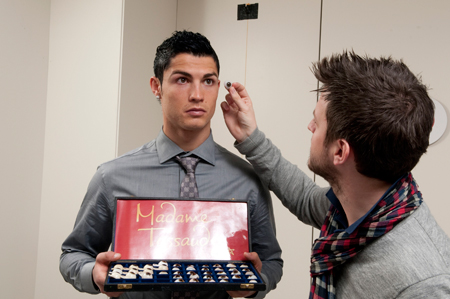 Cristiano Ronaldo Gets Sized Up for his wax figure at Madame Tussauds