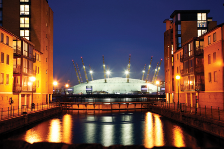 The O2 Arena lit up at night