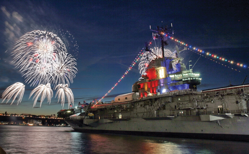 fireworks from the intrepid