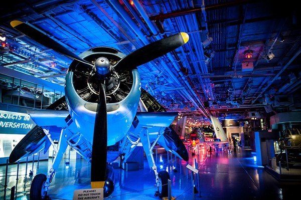 An interior view of the Intrepid Sea, Air & Space Museum.