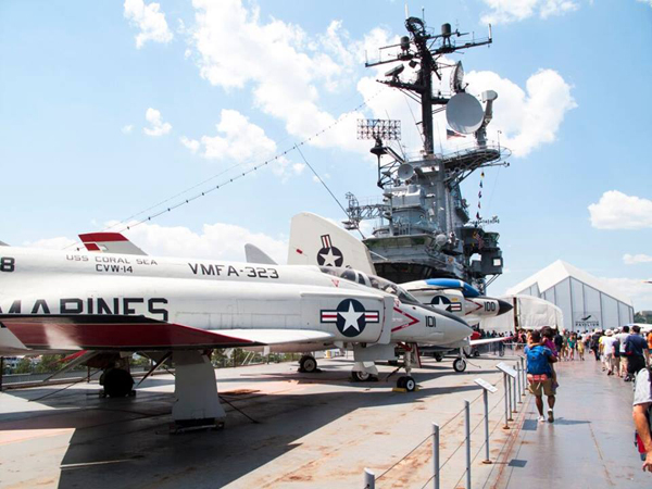 An exterior view of the Intrepid Sea, Air & Space Museum.