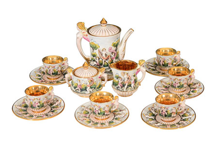 Capodimonte, Italy porcelain tea set