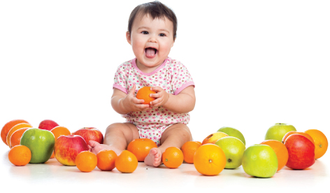 Baby with fruit