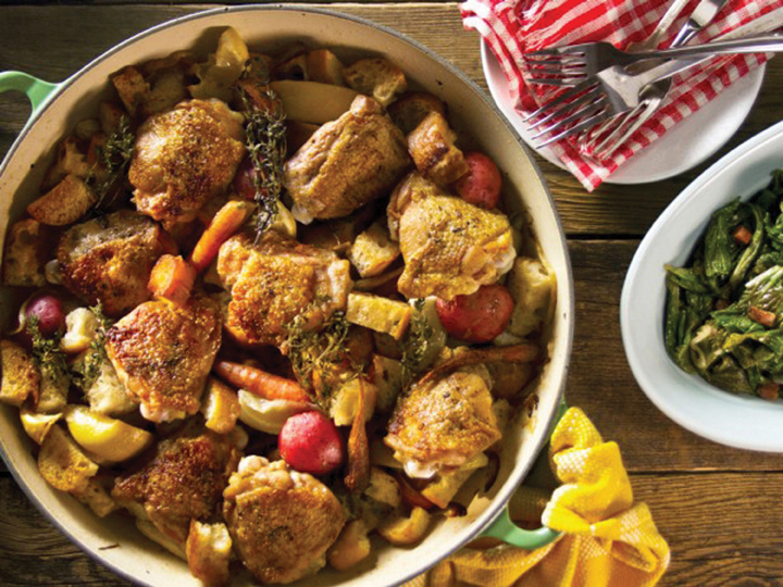 crispy chicken thighs with vegetables