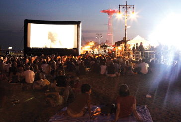 coney island outdoor movie on the beach