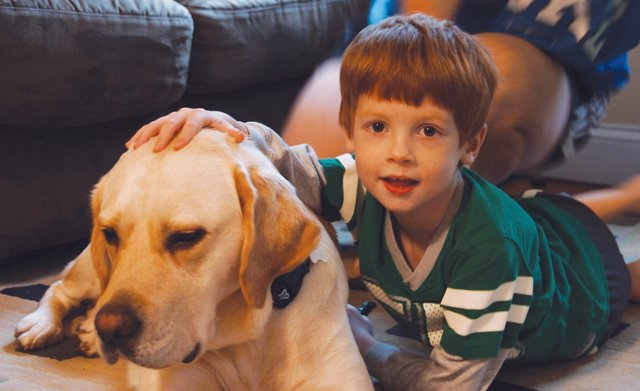 young boy with special needs with healing dog
