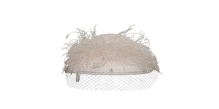 Jack McConnell Flowerpot Hat with Feather Trim