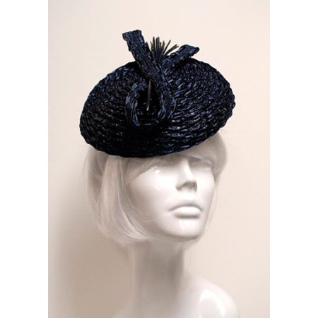 Suzanne Couture Millinery Navy Novelty Straw