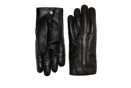 Bally Black Leather Button Detail Gloves