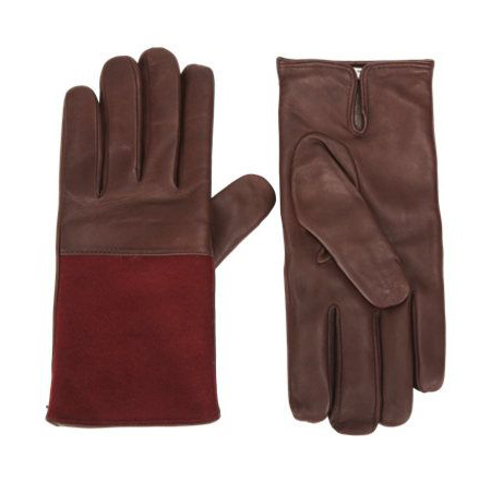 Dries Van Noten Flannel Panel Leather Gloves