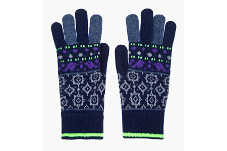 Paul Smith Blue and Fluorescent Yellow Patterned Gloves
