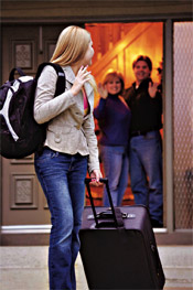 teen leaving home with suitcase