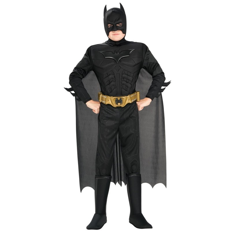 Boy dressed in Dark Knight Rises Batman Halloween costume
