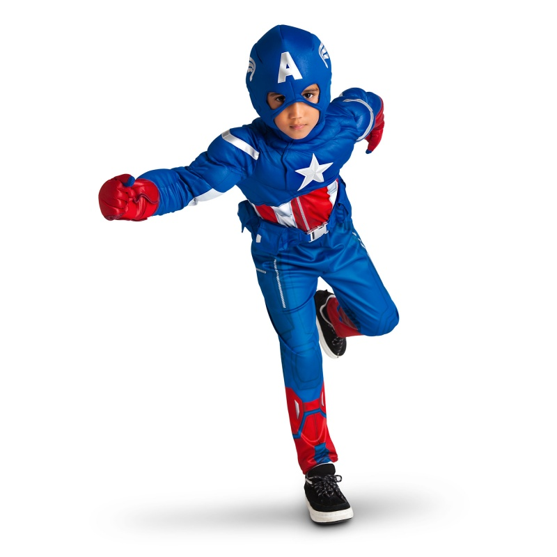 Boy wearing Captain America costume