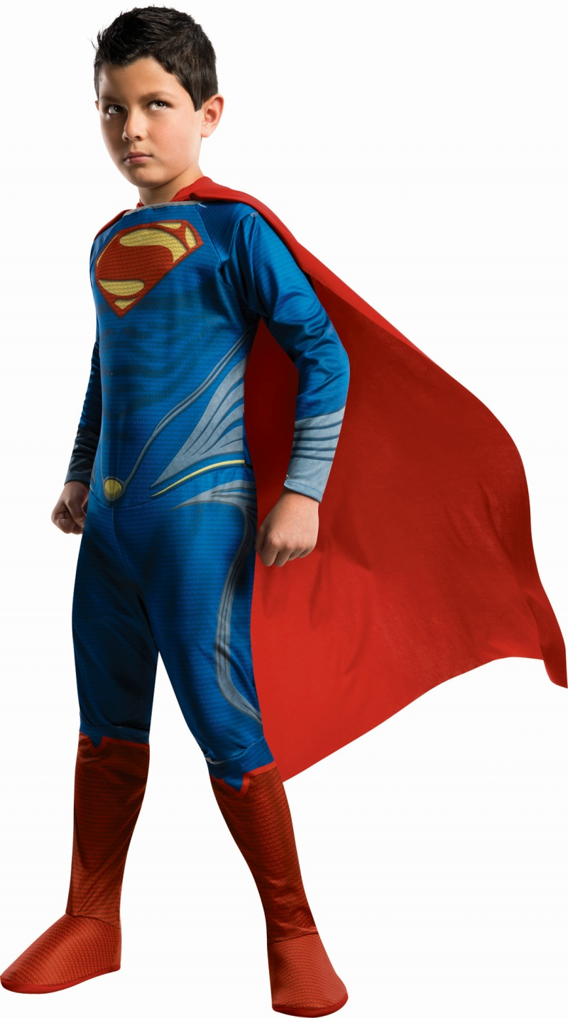 Boy wearing Superman costume with no pads