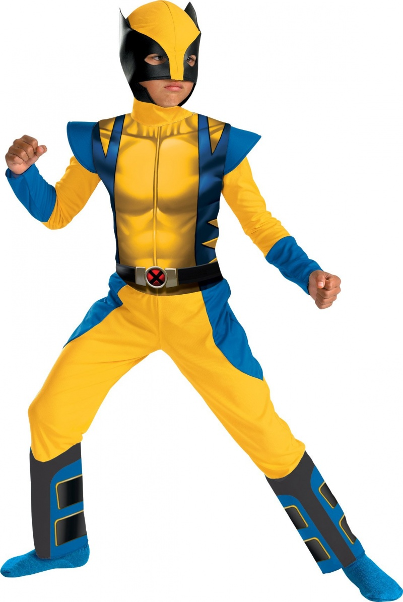 Young boy wearing Wolverine Halloween costue