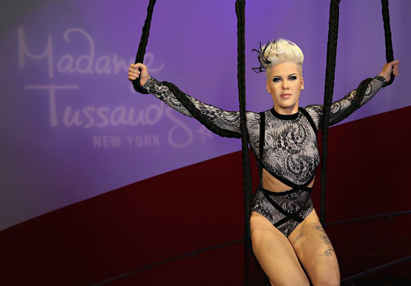 A wax figure of Pink at Madame Tussauds.