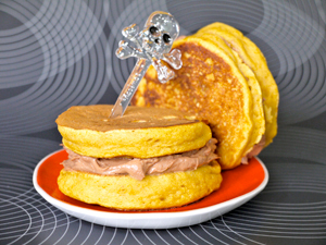 pumpkin pancakes with chocolate filling