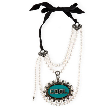 Lanvin pearl-and-ribbon necklace