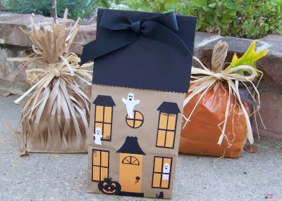 haunted house made out of a paper lunch bag