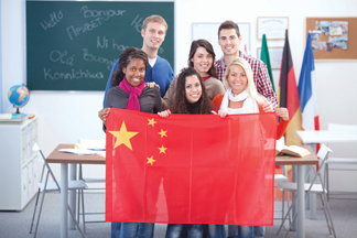 students with a china flag