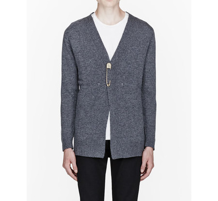 Marc Jacobs wool cardigan with brass safety pin