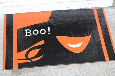 finished halloween duct tape doormat