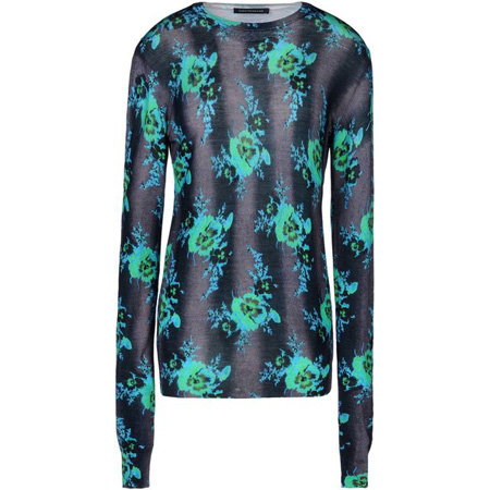 Christopher Kane neon green-and-turquoise sweater