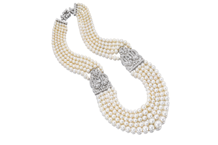 Necklace, natural pearls from the Gulf with platinum and diamond clasps Artist: The Qatar Museums Authority Collection Date: 1930s by Cartier
