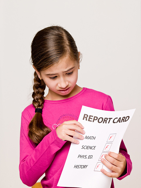 girl with failing report card